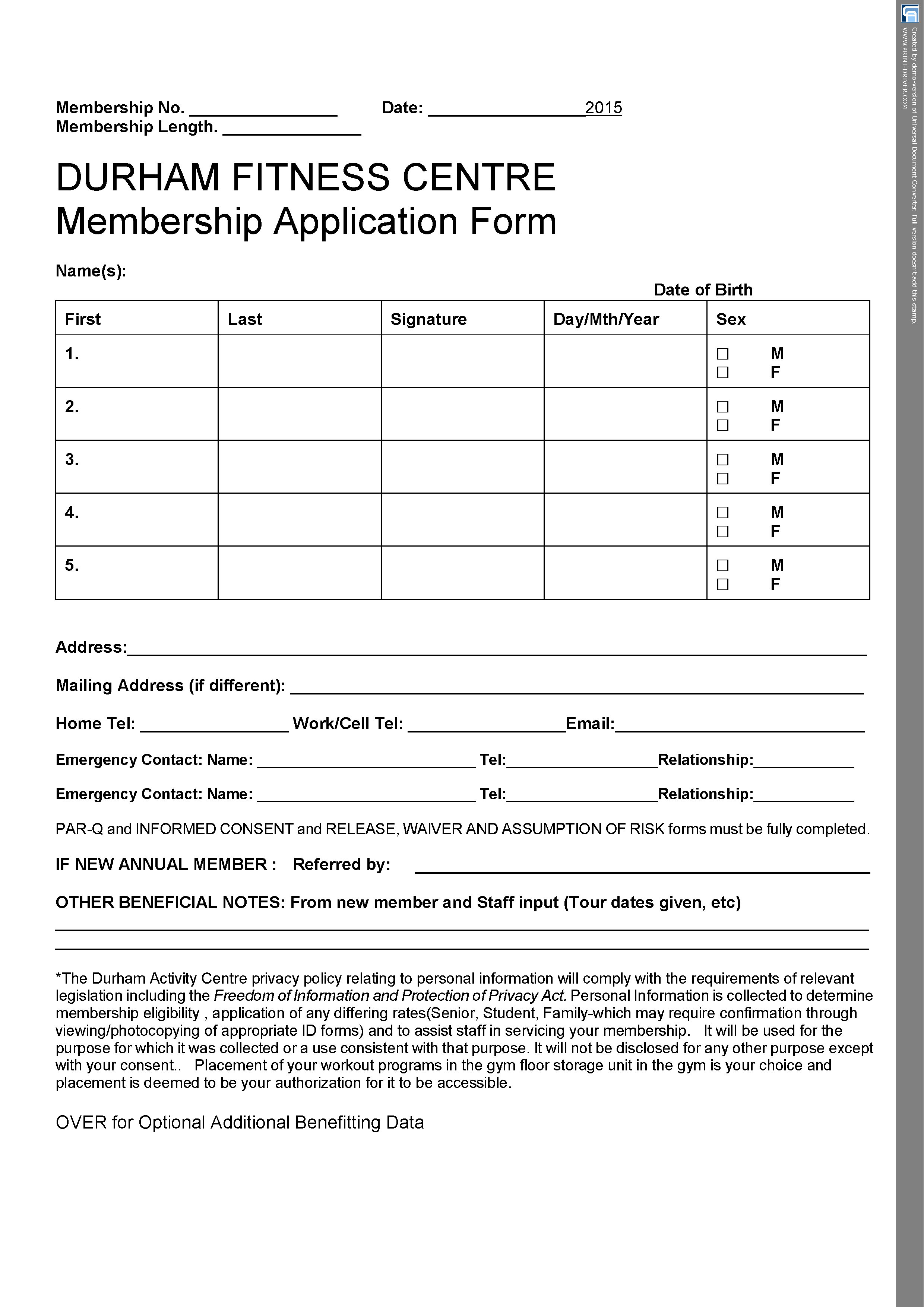 Membership Forms | Durham Fitness Centre