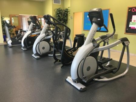 Durham Fitness Centre ellipticals distanced for COVID-19.